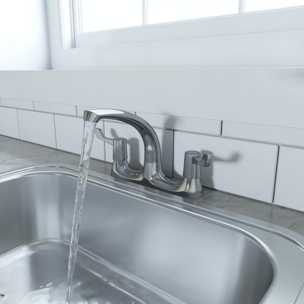 Schön WRAS deck mounted dual lever kitchen tap