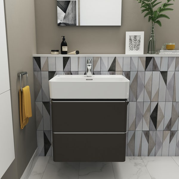 Ideal Standard Strada II anthracite grey wall hung vanity unit and basin 600mm