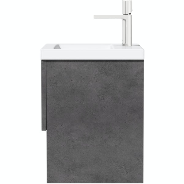 Mode Tate II riven grey wall hung vanity unit and ceramic basin 600mm
