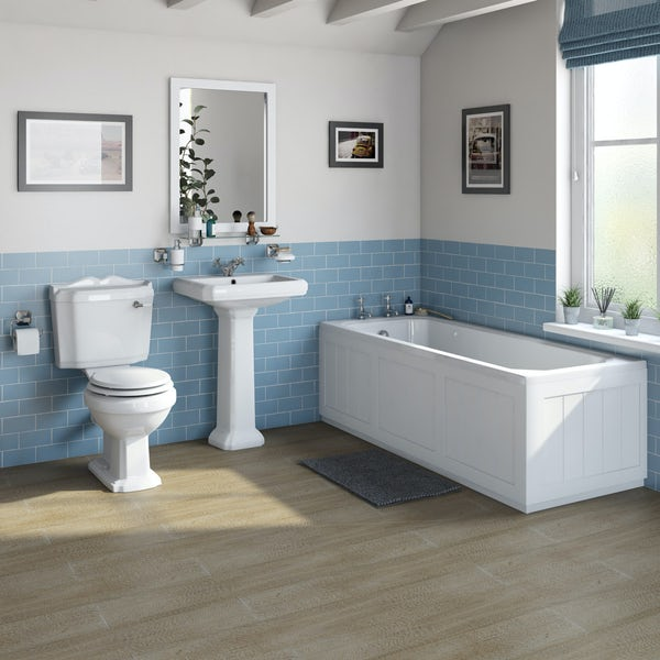 The Bath Co. Dulwich matt white bathroom suite with straight bath 1700 x 700mm