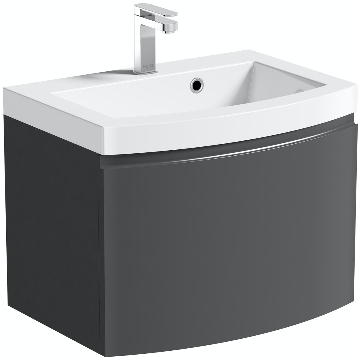 Mode Harrison slate gloss grey wall hung vanity unit and basin 600mm