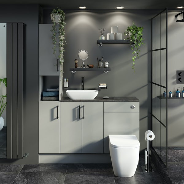 Reeves Wyatt light grey tall fitted furniture combination with mineral grey worktop and countetop basin