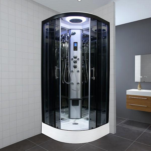 Insignia Premium quadrant steam shower cabin with tinted glass