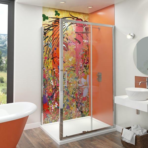 Artist Collection Orange Burst acrylic shower wall panel 2440 x 900mm