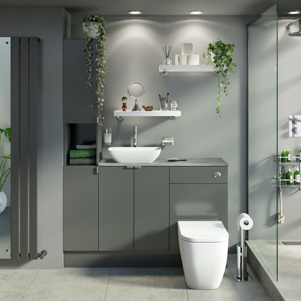 Reeves Wyatt onyx grey tall fitted furniture combination with pebble grey worktop and countetop basin