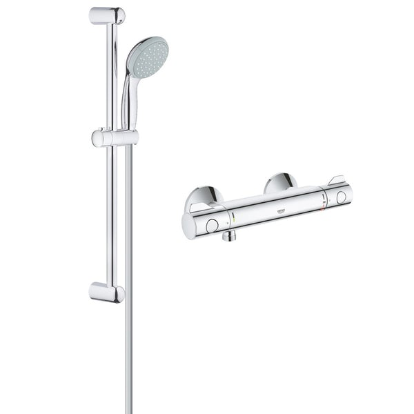 Grohe Grohtherm 800 thermostatic shower mixer with Tempesta 100 two spray shower rail set