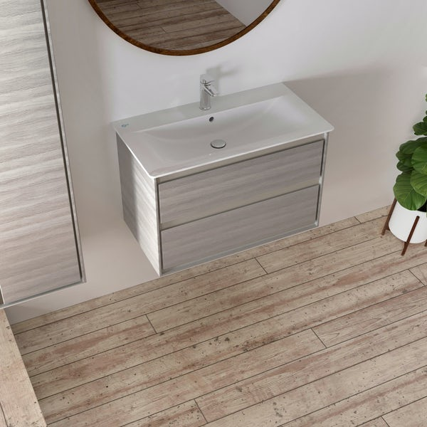 Ideal Standard Concept Air wood light brown wall hung vanity unit and basin 800mm