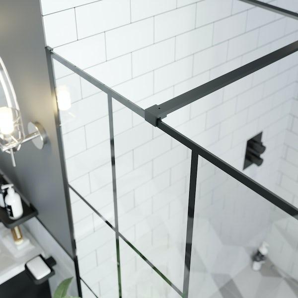 Mode 8mm black framed walk in glass panel pack