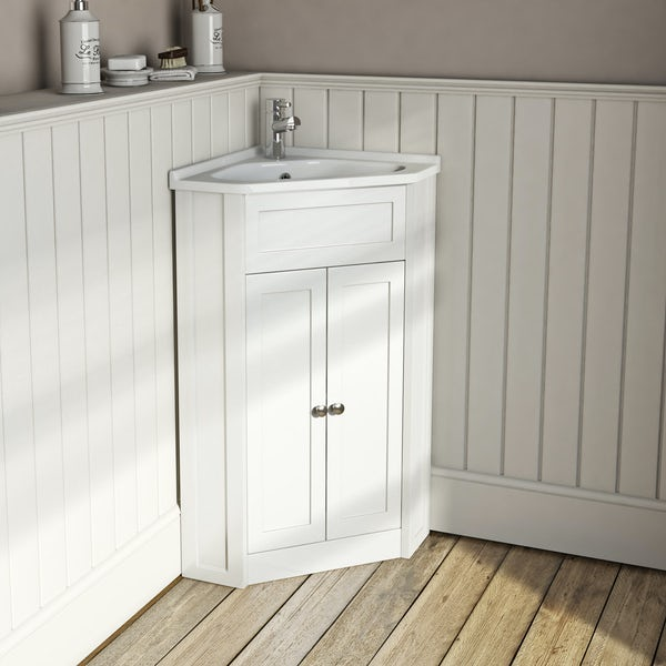 The Bath Co Camberley White Corner Floorstanding Vanity Unit And Ceramic Basin 580mm