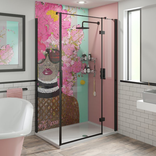 Louise Dear Kiss Kiss Bam Bam Light Pink acrylic shower wall panel pack with black rectangular enclosure