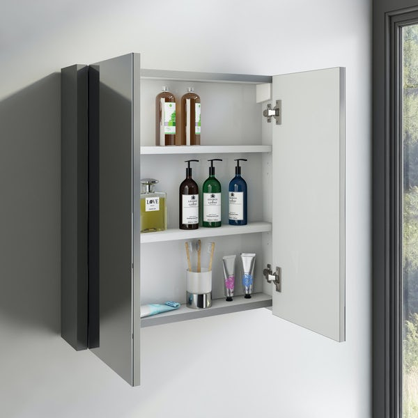 Orchard Derwent stone grey furniture package with floorstanding vanity unit 600mm