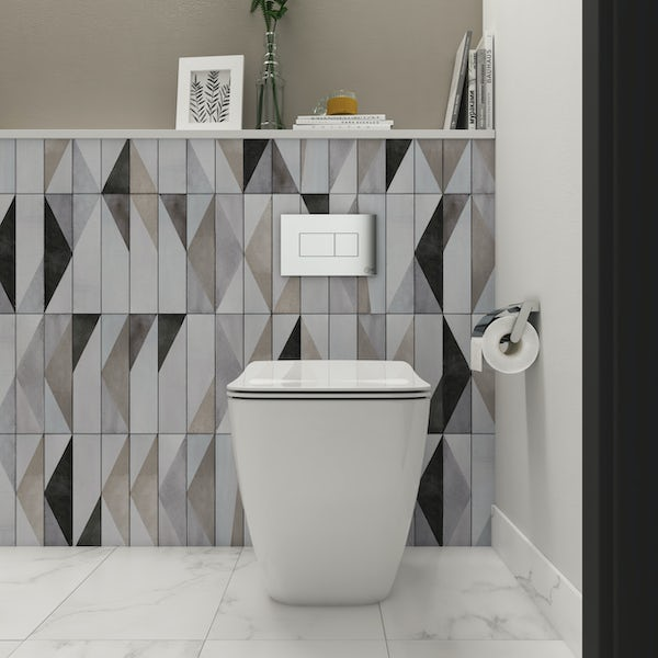 Ideal Standard Strada II back to wall cloakroom suite with right hand wall hung basin 450mm