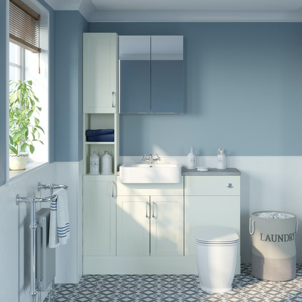 The Bath Co. Newbury white tall fitted furniture & mirror combination with pebble grey worktop