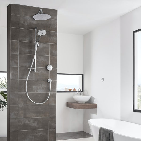 Aqualisa Unity Q Smart concealed shower pumped with adjustable handset and wall head