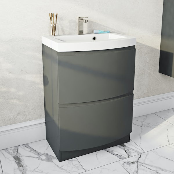 Mode Harrison slate gloss grey floorstanding vanity drawer unit and basin 600mm