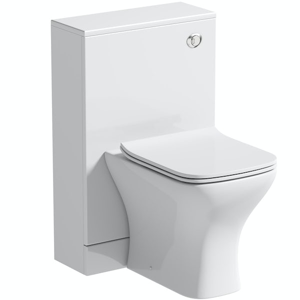 Orchard Derwent white back to wall unit and square compact toilet with soft close slim seat