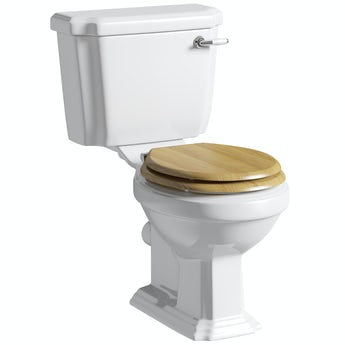 The Bath Co. Dulwich close coupled toilet with soft close solid oak toilet seat