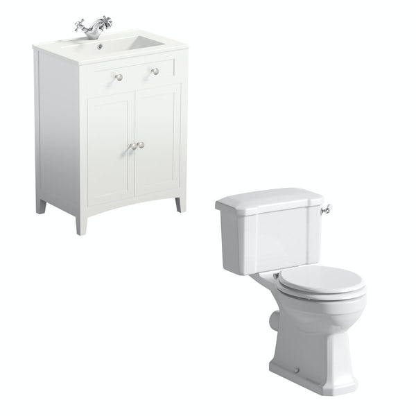 The Bath Co. Camberley close coupled toilet and white vanity unit suite 600mm