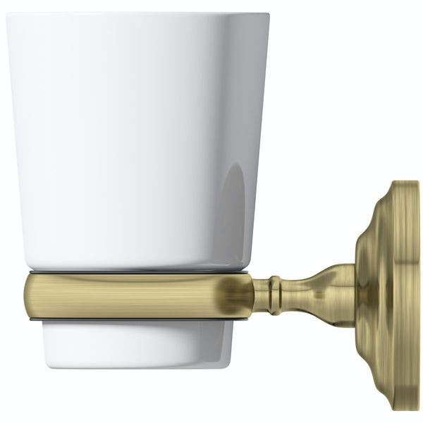 The Bath Co. 1805 gold tumbler and holder