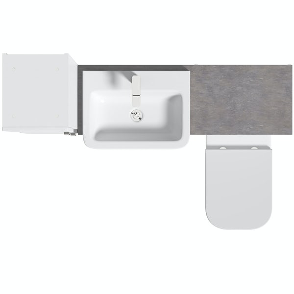 Mode Nouvel gloss white tall fitted furniture combination with mineral grey worktop