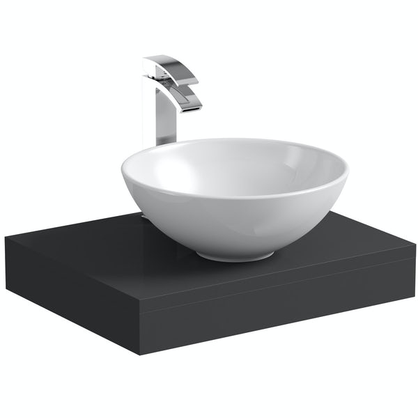 Mode Orion slate gloss grey countertop shelf 600mm with Derwent countertop basin, tap and waste