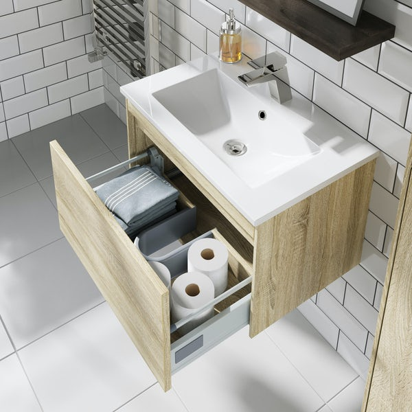 Mode Austin oak wall hung vanity unit and basin 600mm