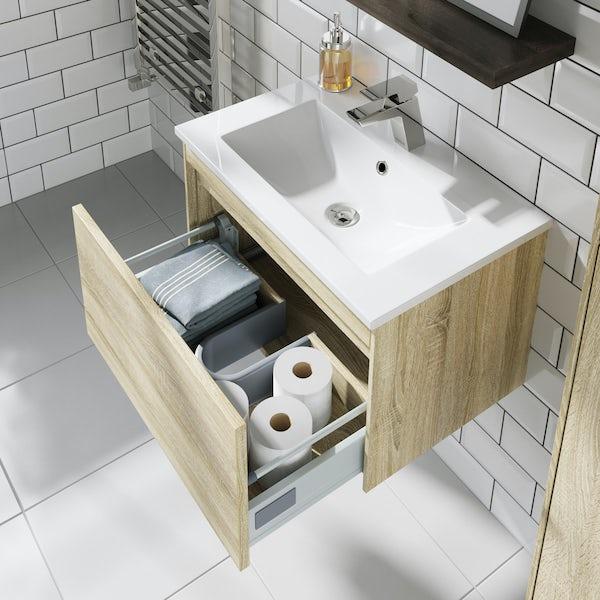 Mode Austin oak wall hung vanity unit and basin 600mm