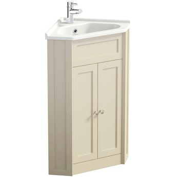 The Bath Co. Camberley satin ivory corner floorstanding vanity unit and ceramic basin 580mm