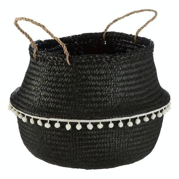 Large black seagrass basket