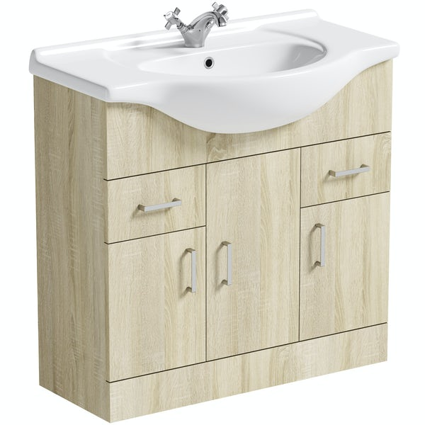 Orchard Eden oak vanity unit and basin 850mm