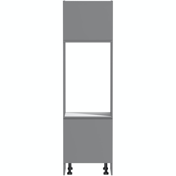 Schon Chicago mid grey handleless 600mm double oven housing unit