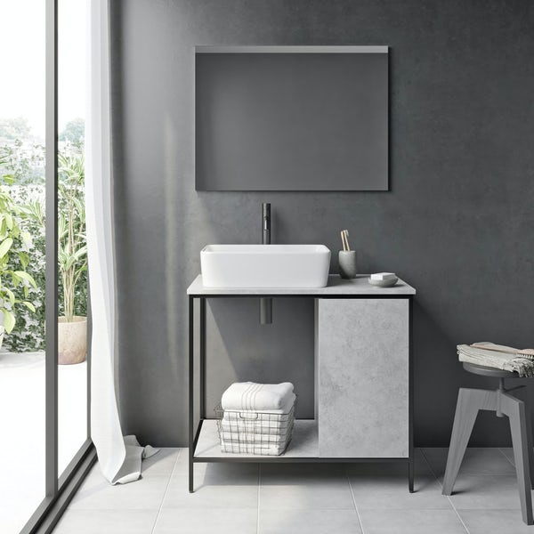 Mode Bergne dark concrete grey washstand and black steel frame 812mm