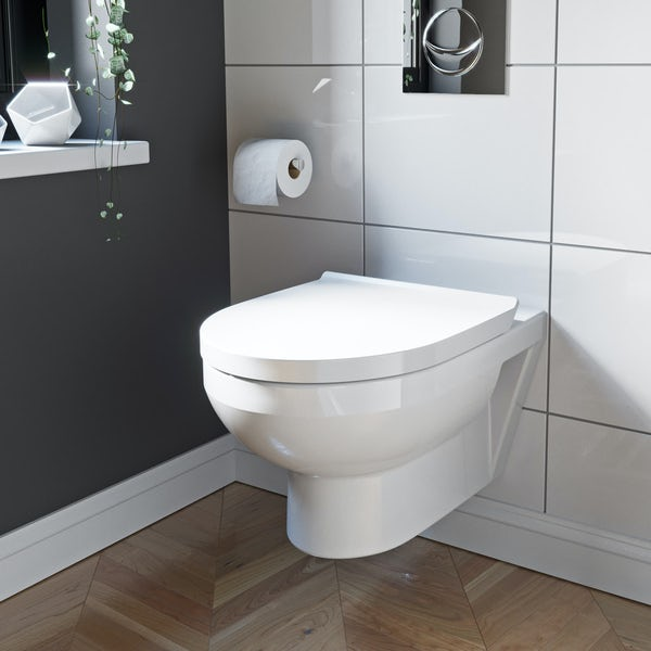 Duravit Durastyle rimless wall hung toilet with soft close toilet seat