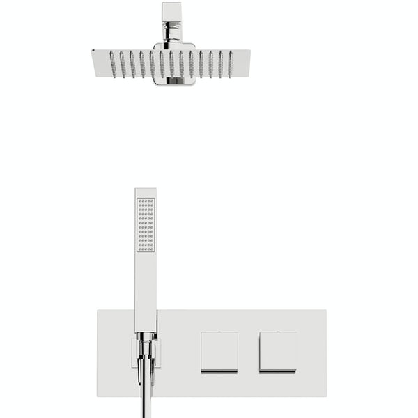 Orchard Wharfe thermostatic twin square shower valve set with built in handset