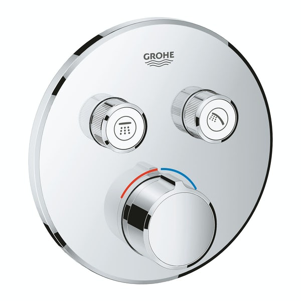 Grohe SmartControl round concealed 2 way shower valve trimset