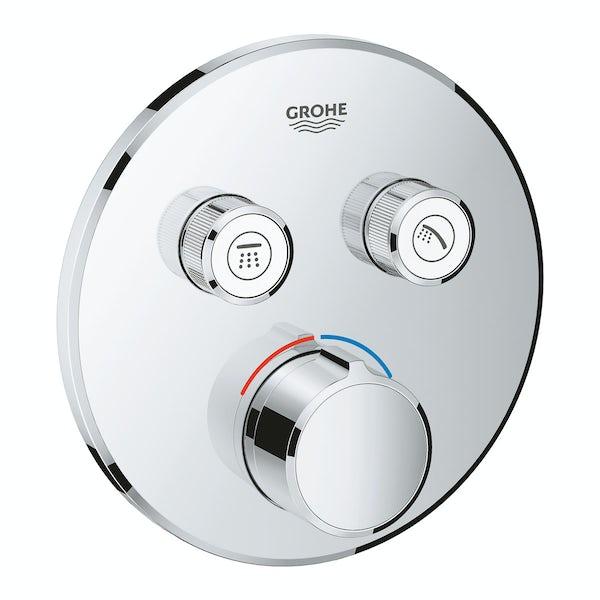 Grohe SmartControl round concealed 2 way shower valve trimset