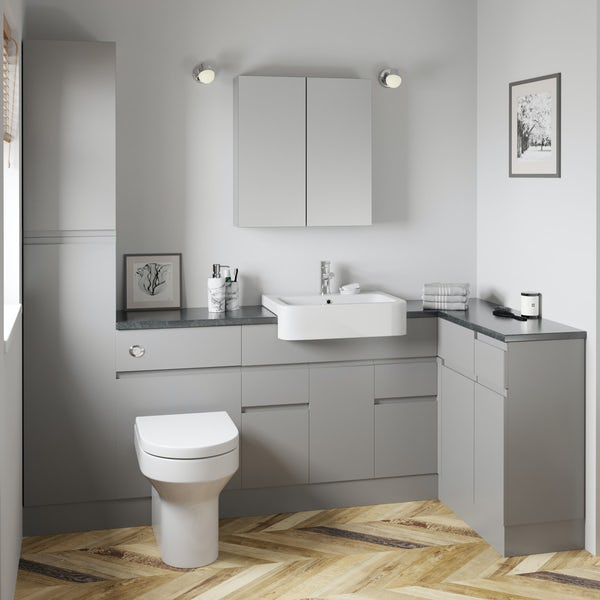 Orchard Wharfe slate grey corner medium storage fitted furniture pack with black worktop