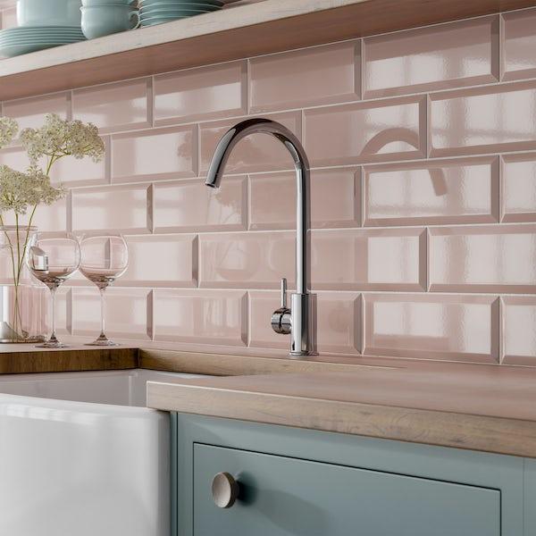 Maxi Metro Blush Pink Bevelled Gloss Wall Tile 100mm X
