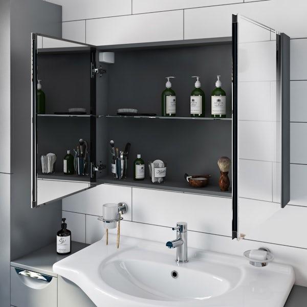 Orchard Elsdon grey mirror cabinet 600 x 800mm