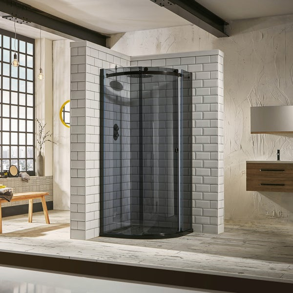 Mode 8mm luxury black quadrant shower enclosure 900 x 900