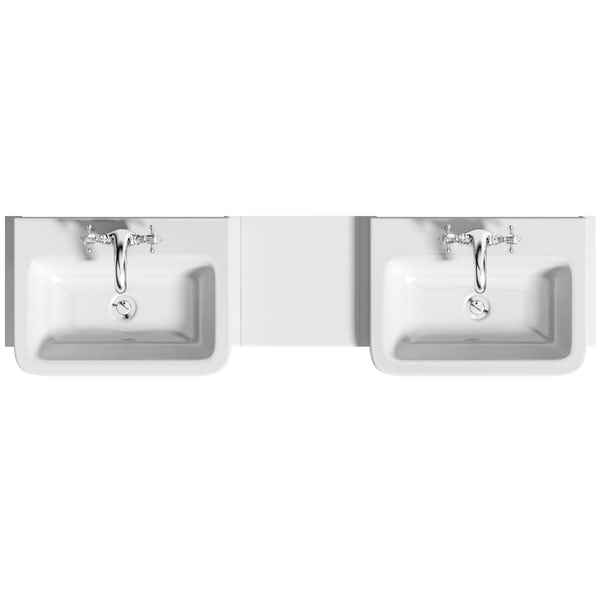 The Bath Co. Dulwich matt white floorstanding double vanity unit and basin with open storage combination