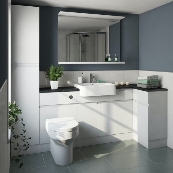 Orchard Wharfe white corner small storage fitted furniture pack with black countertop