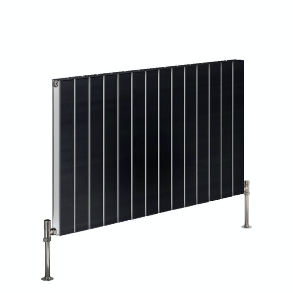 Reina Flat anthracite grey horizontal double panel steel designer radiator