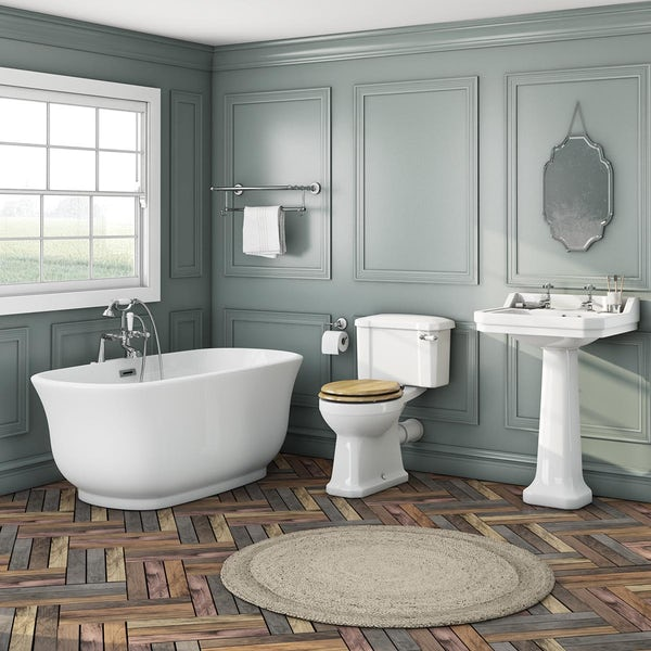 The Bath Co. Camberley freestanding bath suite with oak effect seat