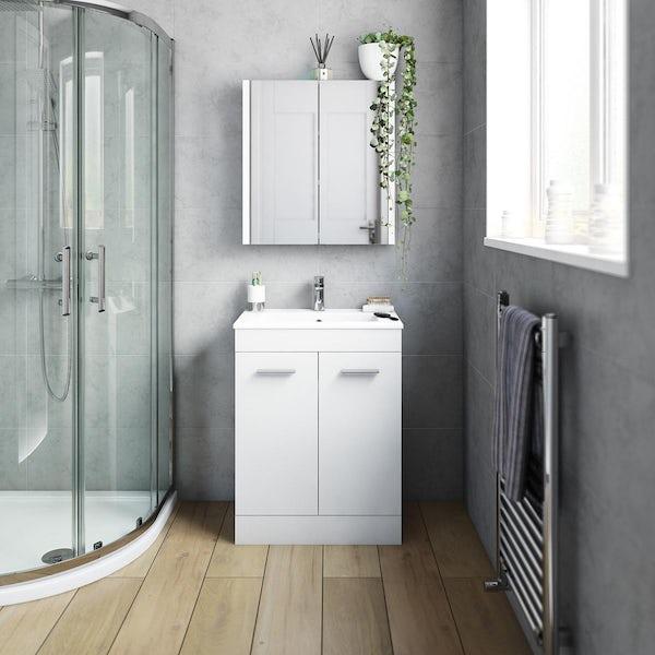 Orchard Odessa gloss white floorstanding vanity unit and ceramic basin 600mm