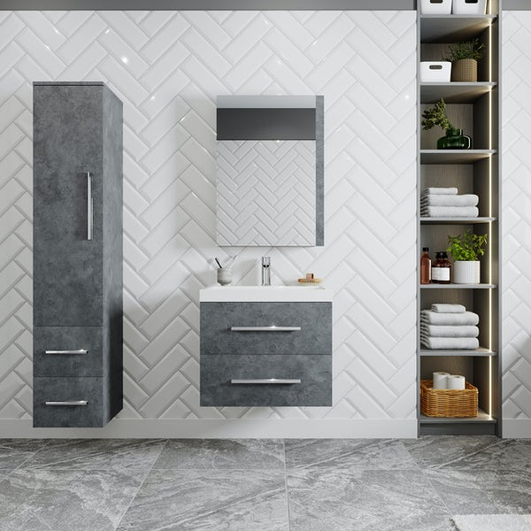 Orchard Kemp riven grey wall hung vanity unit and basin 600mm