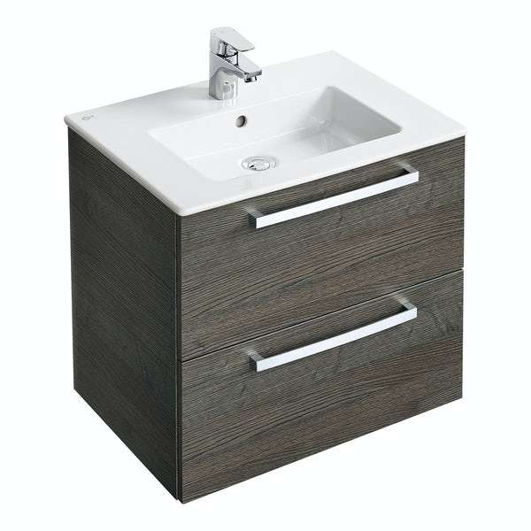 Ideal Standard Tempo sandy grey wall hung vanity and basin 600mm