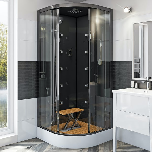 Mode quadrant black glass backed hydro massage shower cabin with wood effect floor and seat 900 x 900