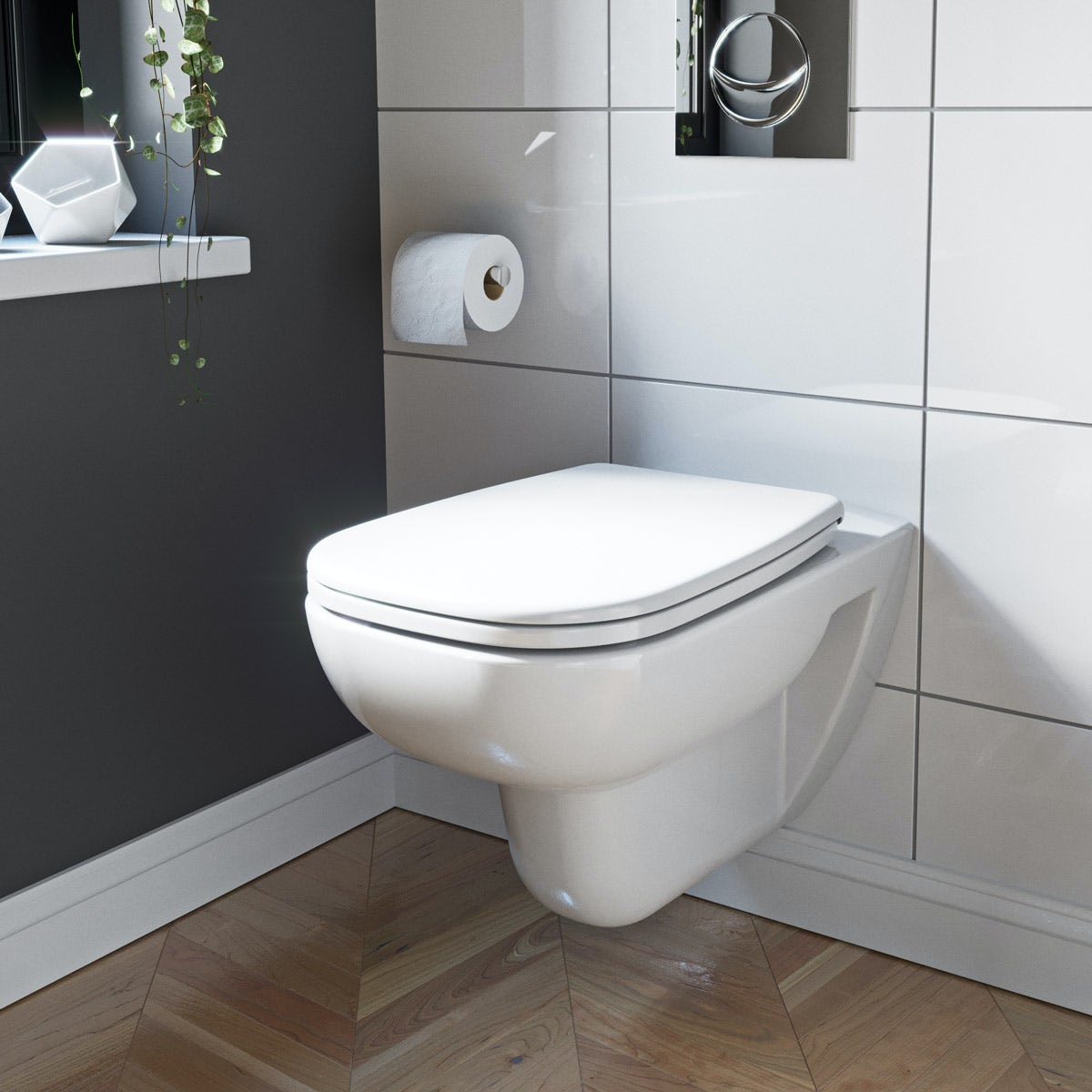 Turbo Duravit D-Code rimless wall hung toilet with soft close toilet RK55