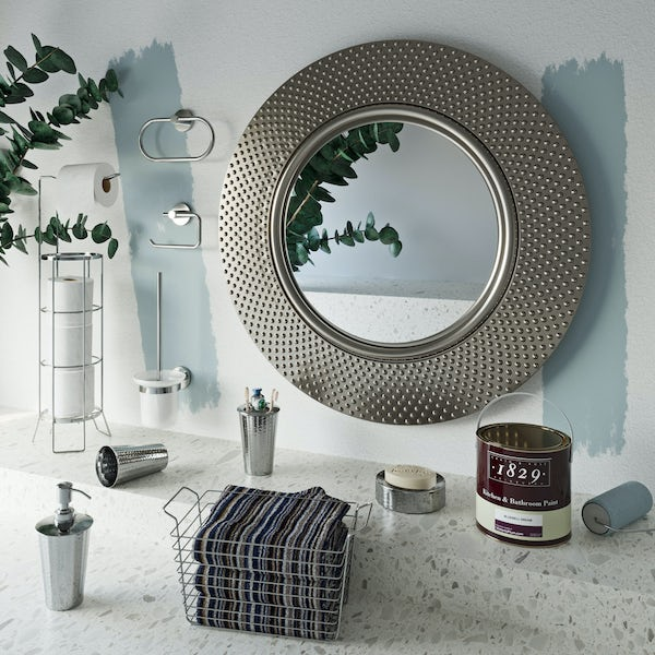 Accents Hammered nickel complete bathroom accessory and towel bundle